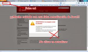 Captura Falsa actualización de Java